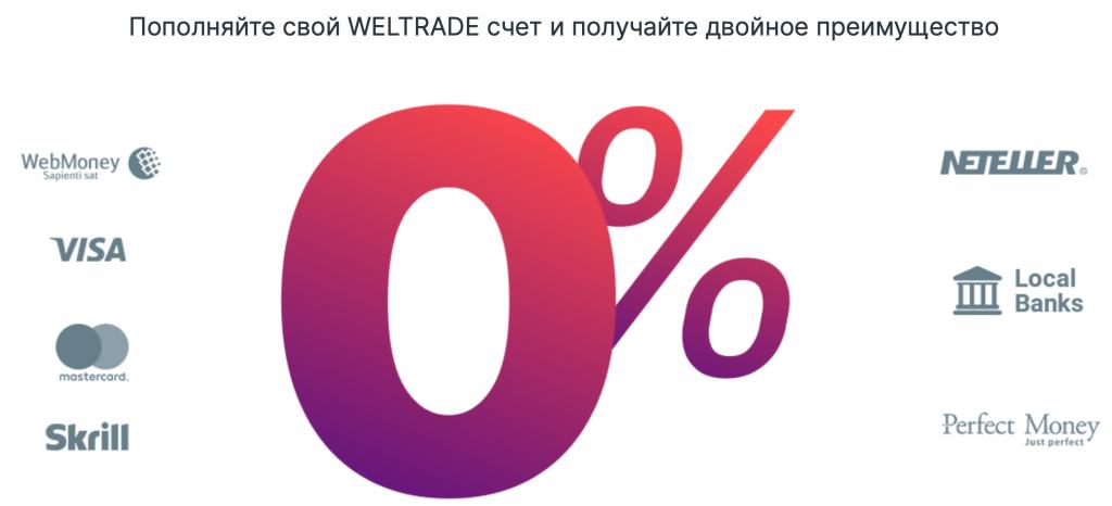 Weltrade(Велтрейд) пополнение торгового счета без комиссии