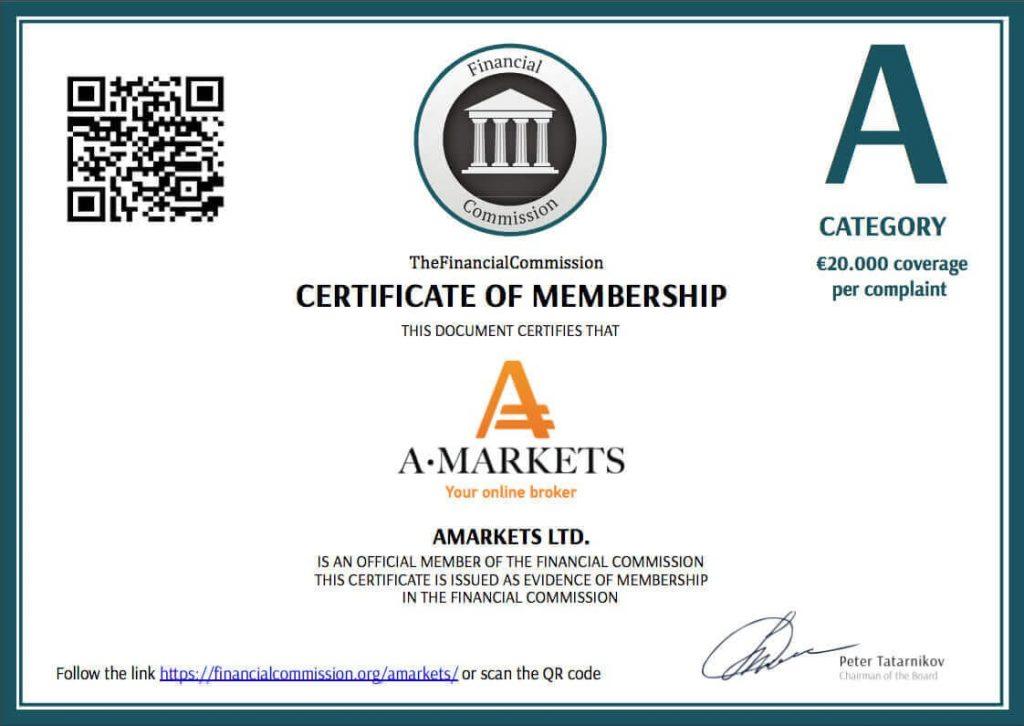 Форекс брокер Амаркетс - Сертификат участника категории «A»  в The Financial Commission