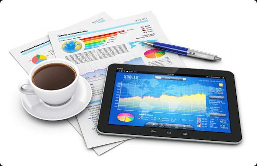 Акции и ценные бумаги на планшете